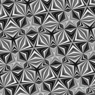 Digital Art - Star Pattern Black And White By Kaye Menner by Kaye Menner