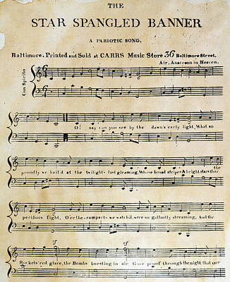 Old Sheet Music Photograph - Star Spangled Banner, 1814 by Granger