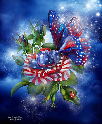 Independence Day Flag Mixed Media - Star Spangled Butterfly by Carol Cavalaris