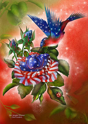 Independence Day Flag Mixed Media - Star Spangled Hummer by Carol Cavalaris