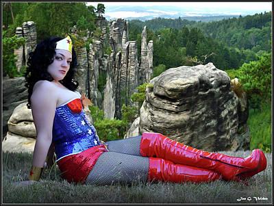 Photograph - Star Spangled Wonder Girl by Jon Volden