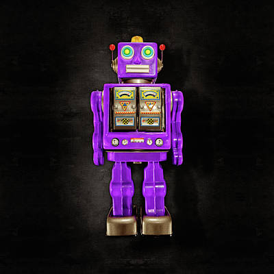 Art Print featuring the photograph Star Strider Robot Purple On Black by YoPedro