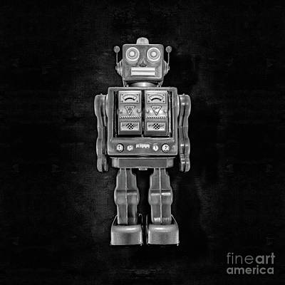 Photograph - Star Strider Robot Red Bw by YoPedro