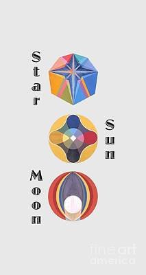 Painting - Star Sun Moon Text by Michael Bellon