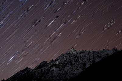 Star Trails Above Himal Chuli Created Art Print by Alex Treadway
