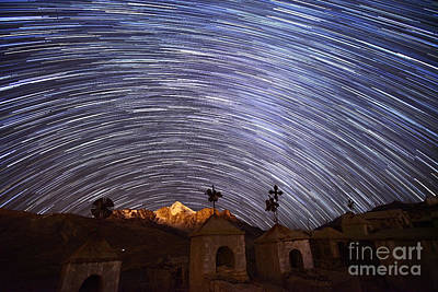 Astro Photograph - Star Trails Above Milluni Cemetery Bolivia by James Brunker