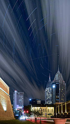 Star Trails And City Lights Art Print