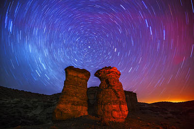 Photograph - Star Trails At Pillars Of Rome In Oregon Usa by Vishwanath Bhat