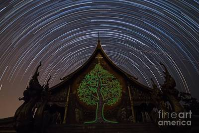 Star Trails In The Night At Temple Print by Tosporn Preede