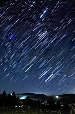 Star Trails Long Exposure At Night Art Print by Evan Sharboneau