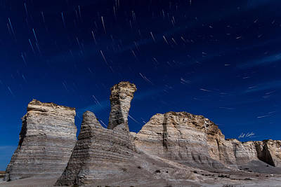 Photograph - Star Trails - Monument Rocks by Bill Kesler