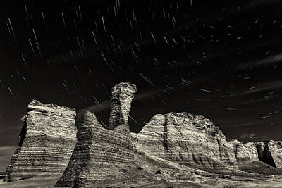 Photograph - Star Trails - Monument Rocks - Black-and-white by Bill Kesler