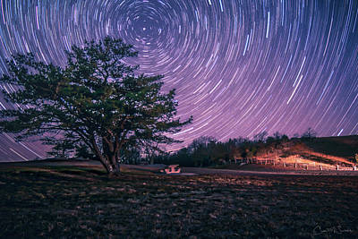 Astro Photograph - Star Trails On The Blue Ridge by Chris M Sheridan