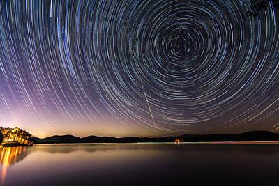 Carter Lake Photograph - Star Trails Over Carters Lake by Andrew Savasuk