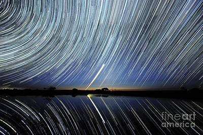 Moonlit Night Photograph - Star Trails Over Lake Tyrrell, Australia by Alex Cherney, Terrastro