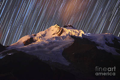 Astro Photograph - Star Trails Over Mt Huayna Potosi by James Brunker