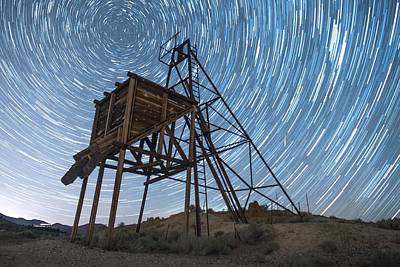Go West Young Man Photograph - Star Trails Over Occidental Mineshaft by Beau Rogers