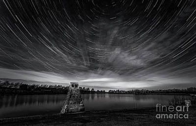 Photograph - Star Trails Over The Tarn - Monochrome by Mariusz Talarek