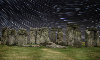 Megalithic Photograph - Star Trails Stonehenge by Martin Newman