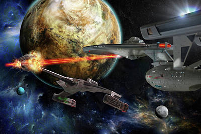 Klingon Wall Art - Digital Art - Star Trek Battle by Dan Richelieu