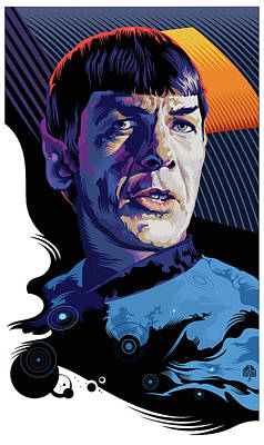 Science Fiction Royalty-Free and Rights-Managed Images - Star Trek Spock Pop Art Portrait by Garth Glazier