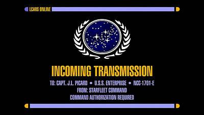 Star Trek Enterprise Incoming Transmission Screen                 Art Print