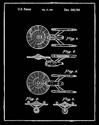 Star Trek Enterprise Patent Black Art Print by Bill Cannon