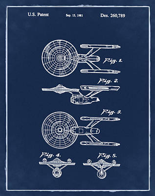 Star Trek Enterprise Patent Blue Art Print by Bill Cannon