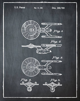 Star Trek Enterprise Patent Chalk Art Print by Bill Cannon