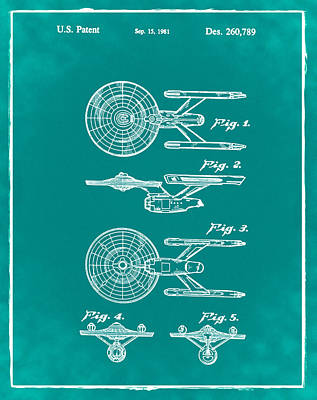 Star Trek Enterprise Patent Green Art Print by Bill Cannon