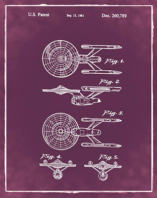 Star Trek Enterprise Patent Red Art Print by Bill Cannon
