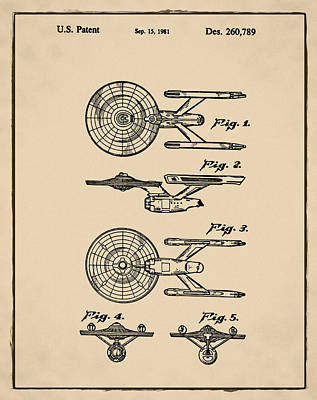 Star Trek Enterprise Patent Sepia Art Print by Bill Cannon