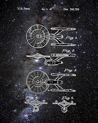 Star Trek Enterprise Patent Space Art Print by Bill Cannon