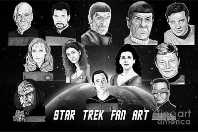 Data Drawing - Star Trek Fan Art by Bill Richards