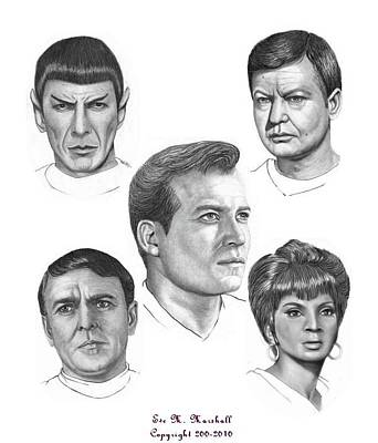 Scotty Drawing - Star Trek O by Eve Marshall