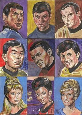 Painting - Star Trek Original Series Cast Trading Cards by Bryan Bustard