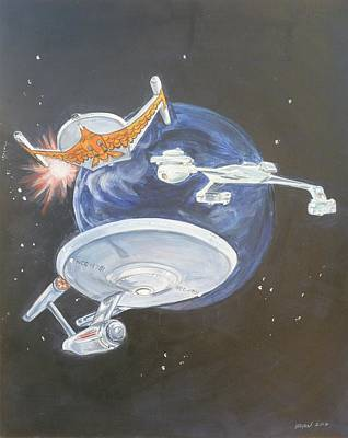 Painting - Star Trek Tos Ships by Bryan Bustard