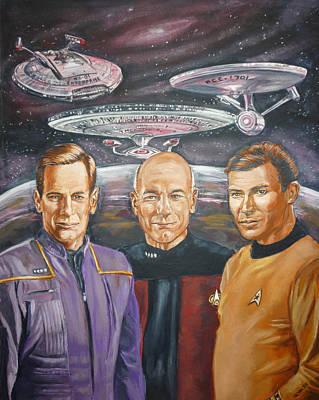 Star Trek Tribute Enterprise Captains Art Print by Bryan Bustard