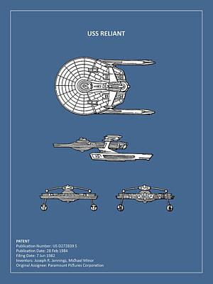 Star Trek - Uss Reliant Patent Print by Mark Rogan