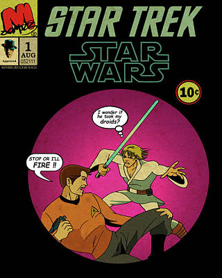 Captain Kirk Drawing - Star Trek Wars by Mista Perez Cartoon Art