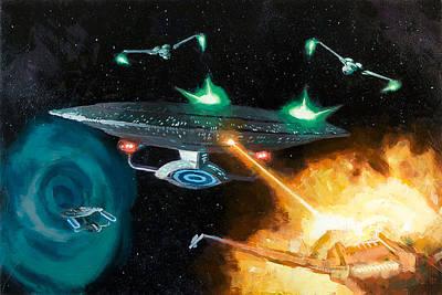 Klingon Wall Art - Painting - Star Trek Yesterdays Enterprise by Christopher Clark