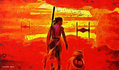 Rey Painting - Star Wars 8 Last Jedi - Pa by Leonardo Digenio