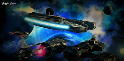 Spaceship Painting - Star Wars Approaching by Leonardo Digenio