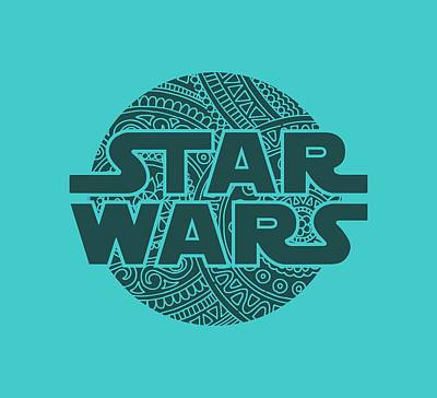 Mixed Media - Star Wars Art - Logo - Blue 02 by Studio Grafiikka
