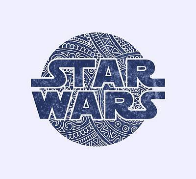 Buy Tshirts Mixed Media - Star Wars Art - Logo - Blue by Studio Grafiikka