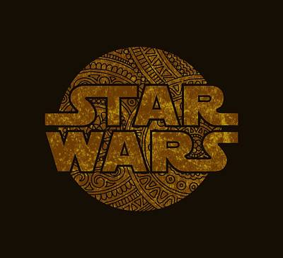 Buy Tshirts Mixed Media - Star Wars Art - Logo - Gold by Studio Grafiikka
