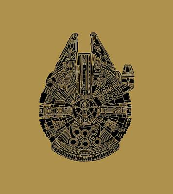 Mixed Media - Star Wars Art - Millennium Falcon - Black by Studio Grafiikka