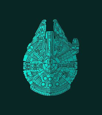 Mixed Media - Star Wars Art - Millennium Falcon - Blue 02 by Studio Grafiikka