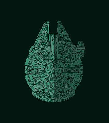 Science Fiction Royalty-Free and Rights-Managed Images - Star Wars Art - Millennium Falcon - Blue Green by Studio Grafiikka