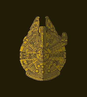 Science Fiction Mixed Media - Star Wars Art - Millennium Falcon - Brown by Studio Grafiikka